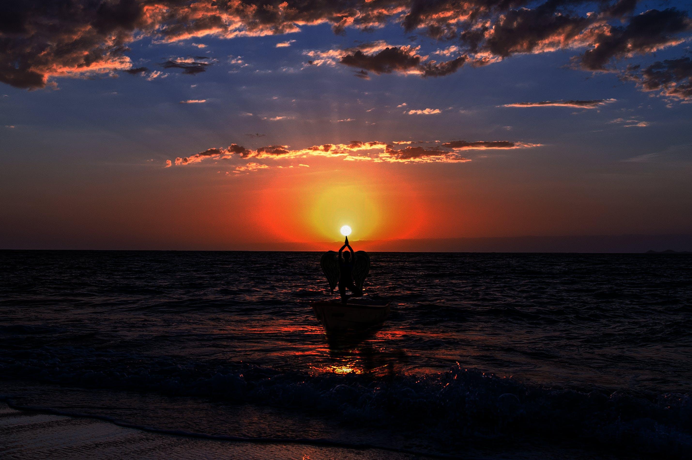 シースケープ, バックライト付き, ビーチ, 反射の無料の写真素材