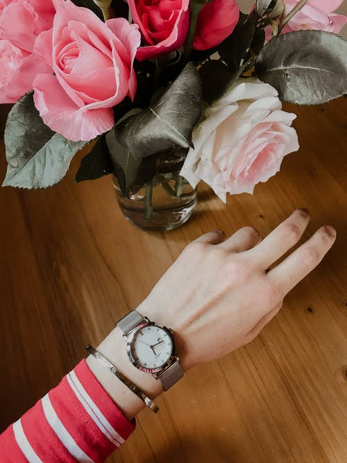 Person Wearing Silver Round Analog Watch With Silver Link Bracelet