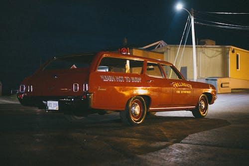 Orange and White Vintage Car