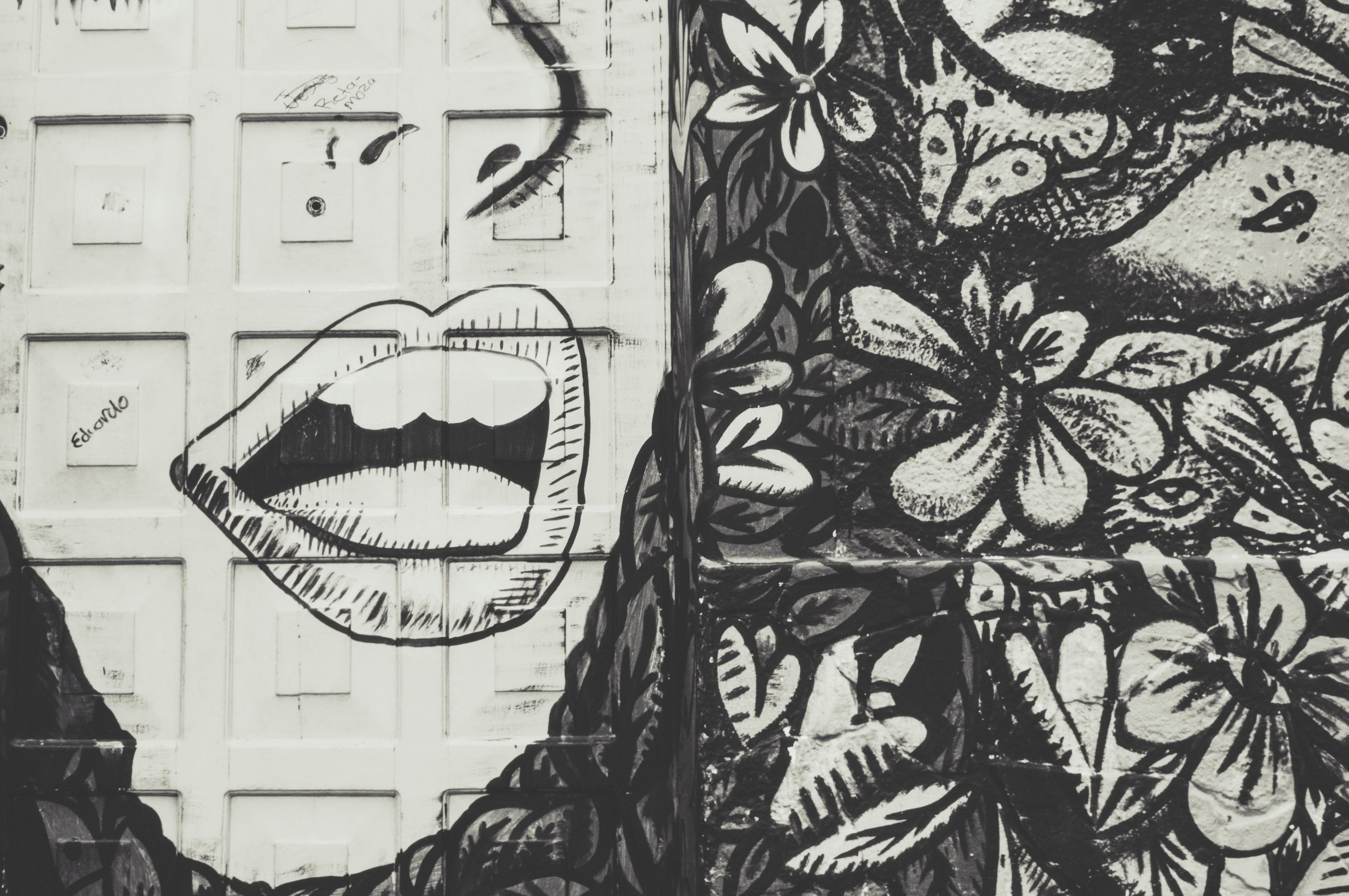 White and Black Floral With Face-printed Door