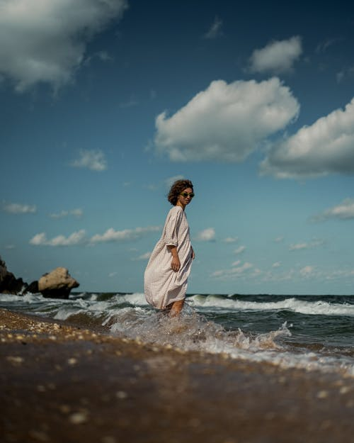 Free stock photo of adult, beach, brown hair