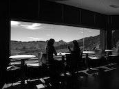 black-and-white, restaurant, mountains