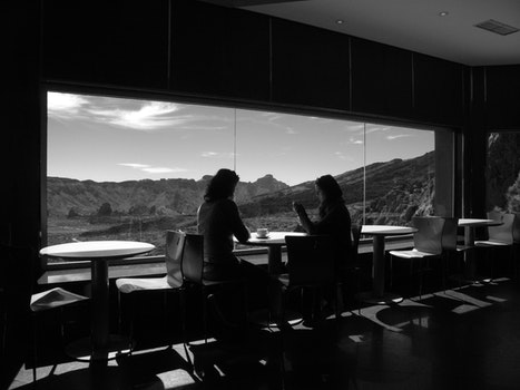Free stock photo of black-and-white, restaurant, mountains, people