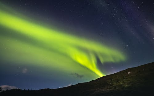 Green Aurora Lights over the Mountain