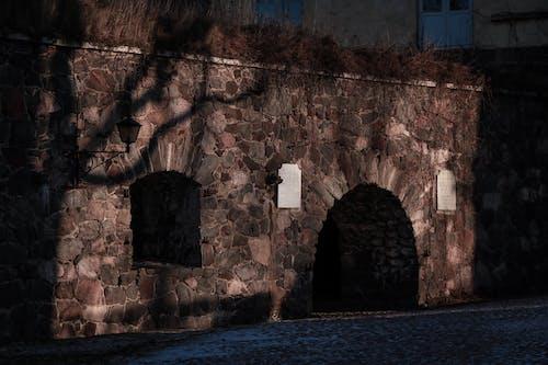 Základová fotografie zdarma na téma kamenná zeď, stěny, stíny, západ slunce