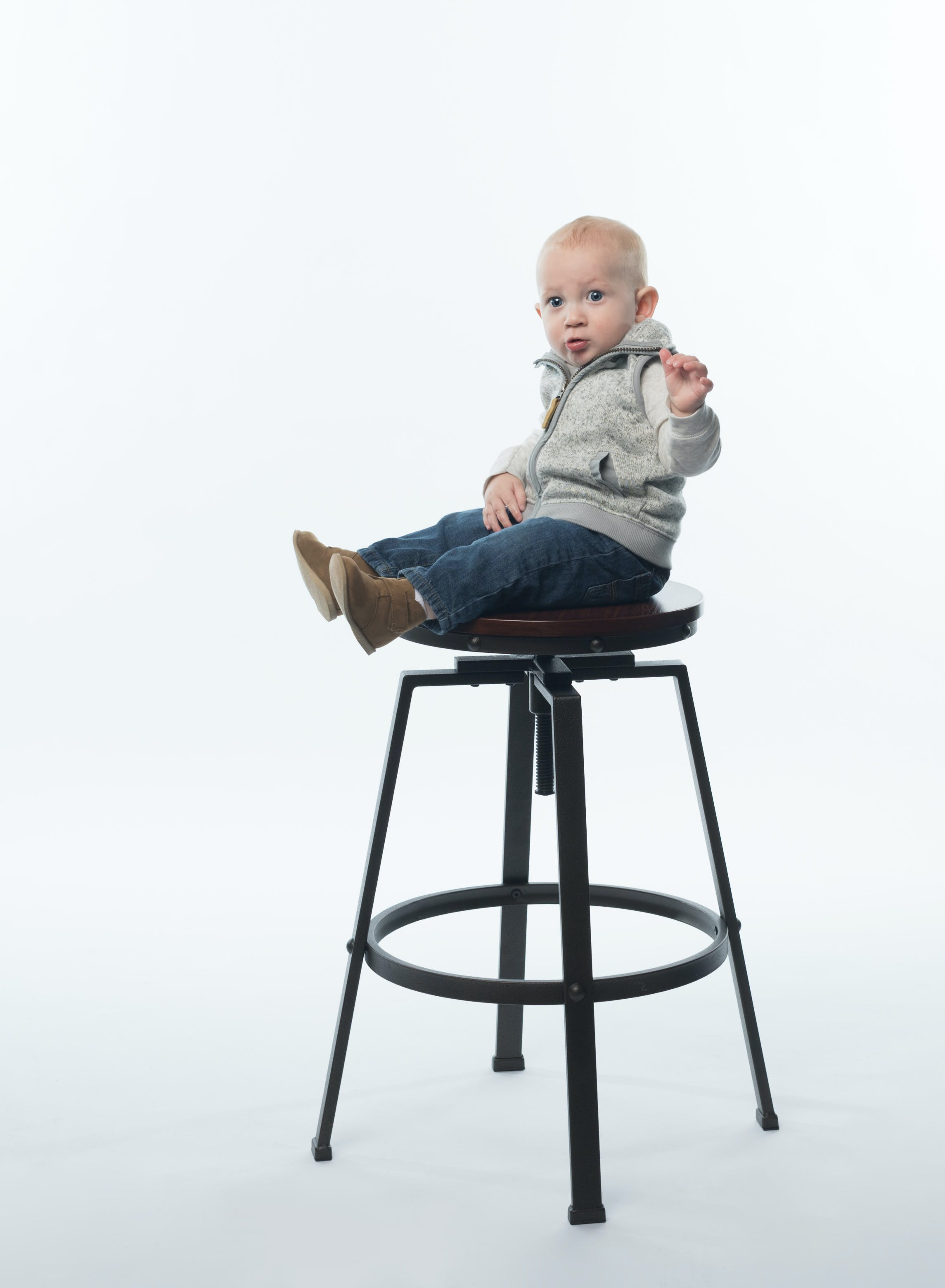 Child on Steel Framed Stool