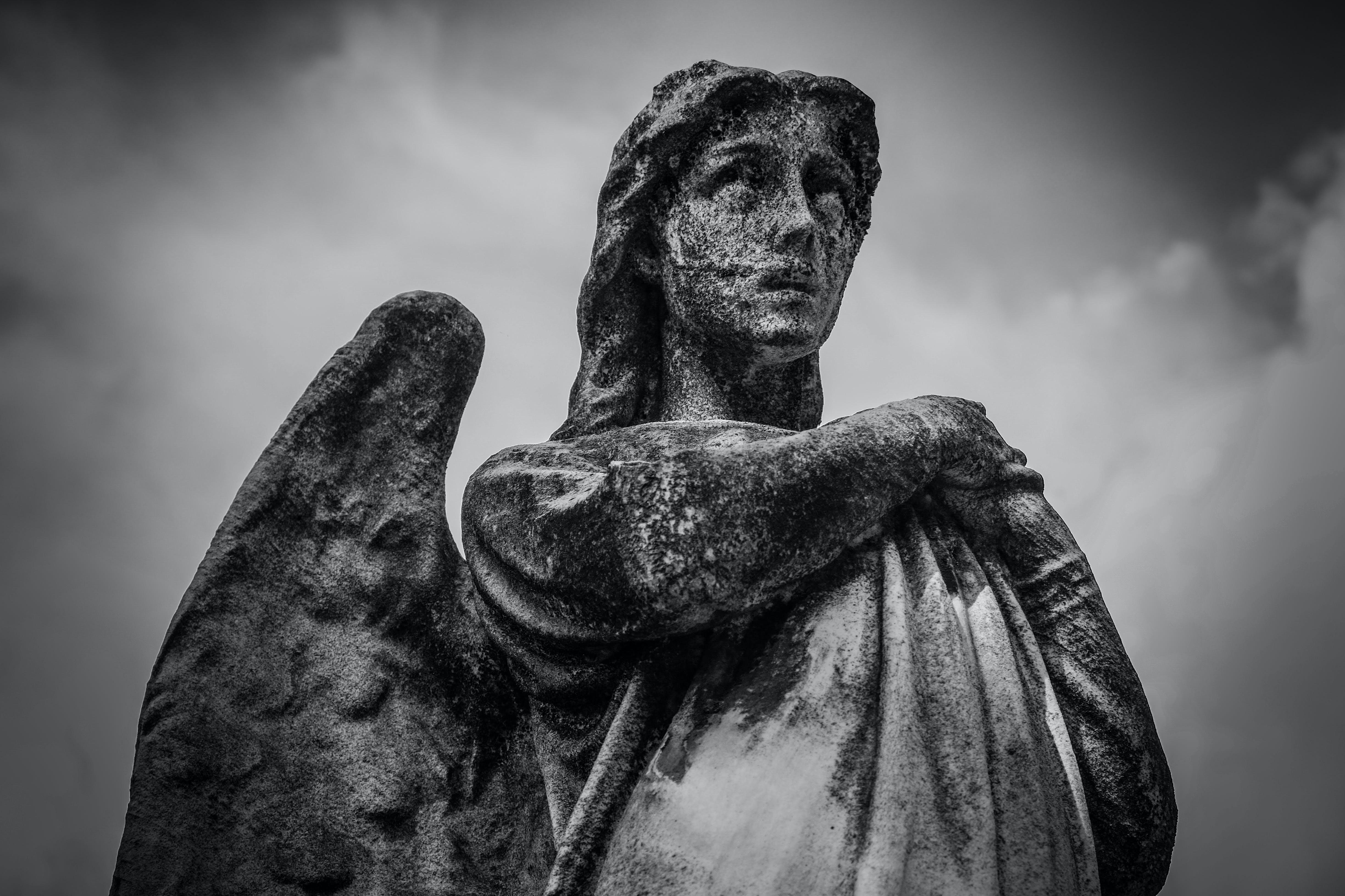 Woman With Wings Statue Grayscale Photo