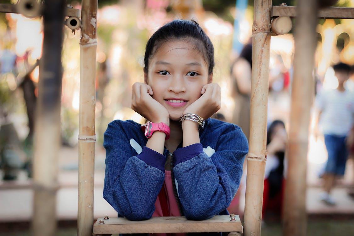 asijská holka, děti, holka