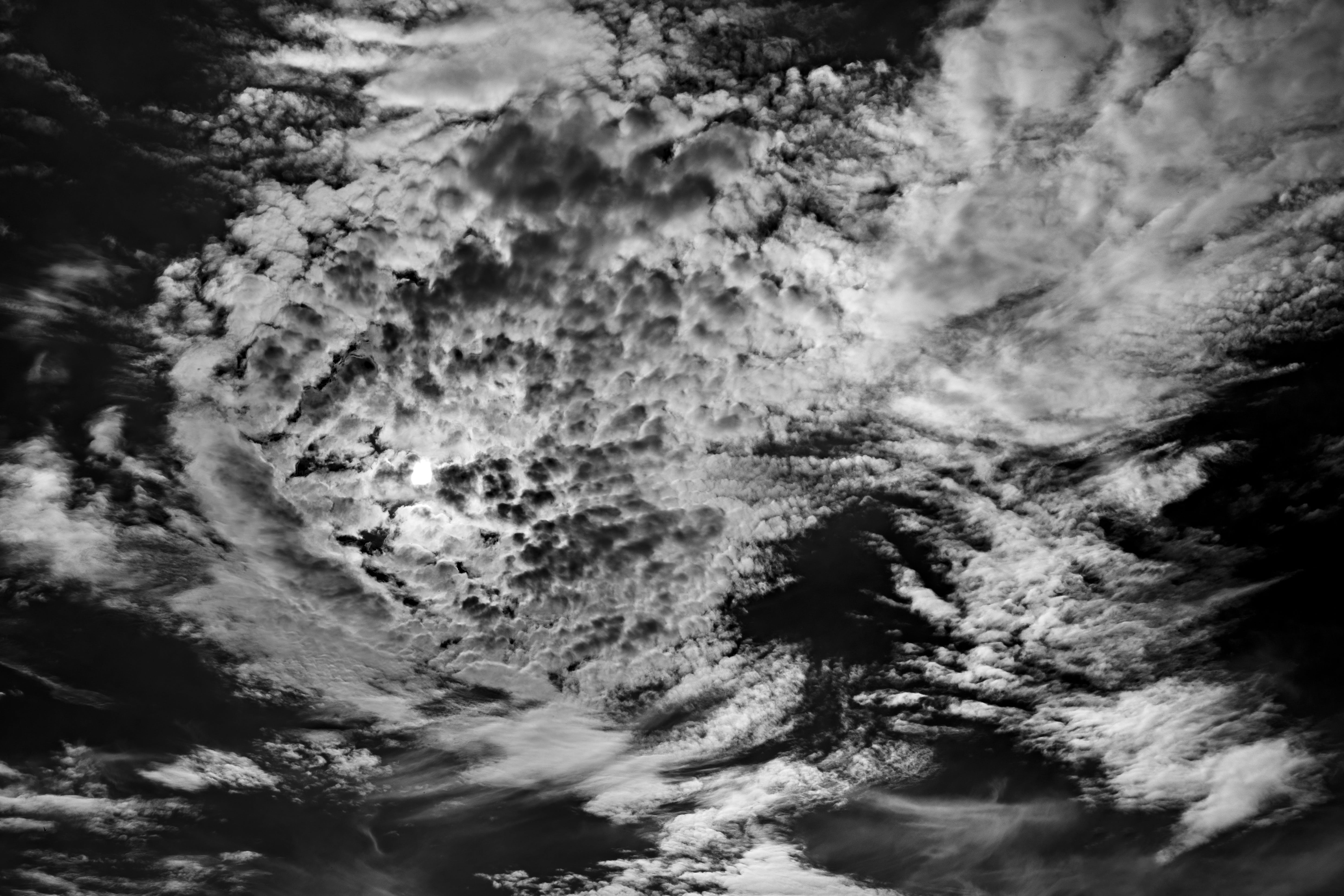 of atmosphere, beautiful, black white, clouds