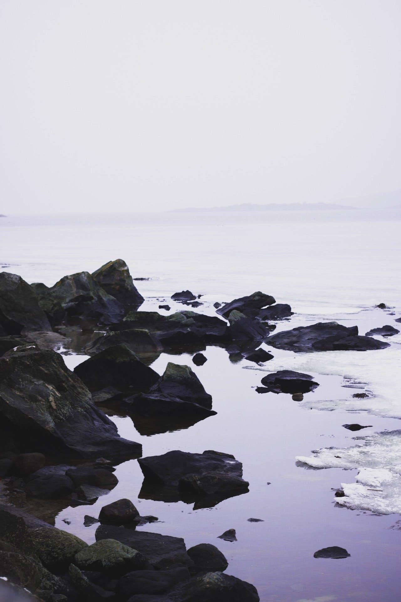 Free stock photo of blue water, foggy, frozen lake, ice