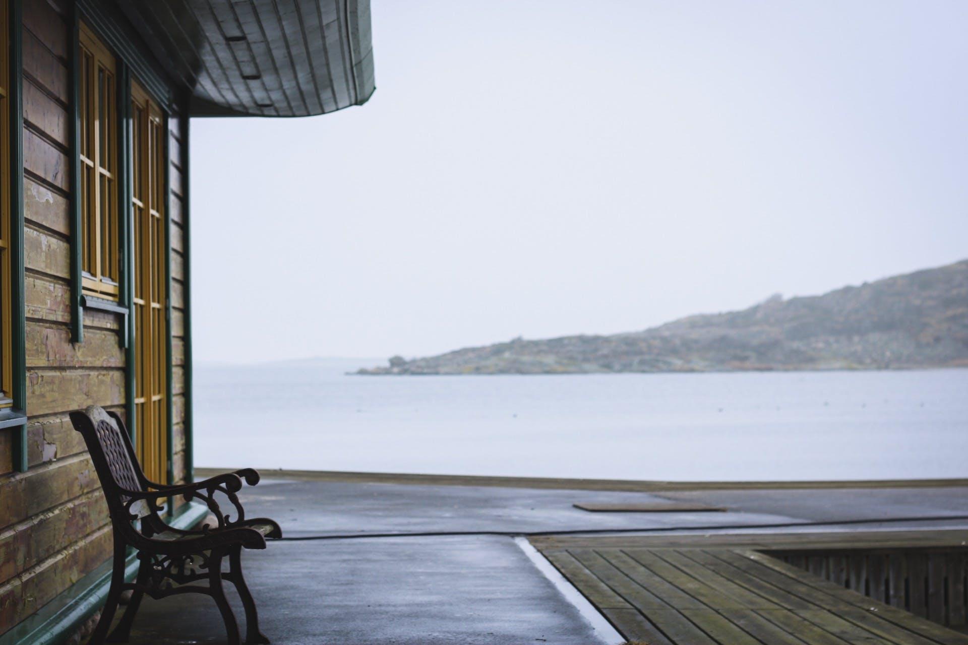 Free stock photo of bench, Forzen lake, house, lake