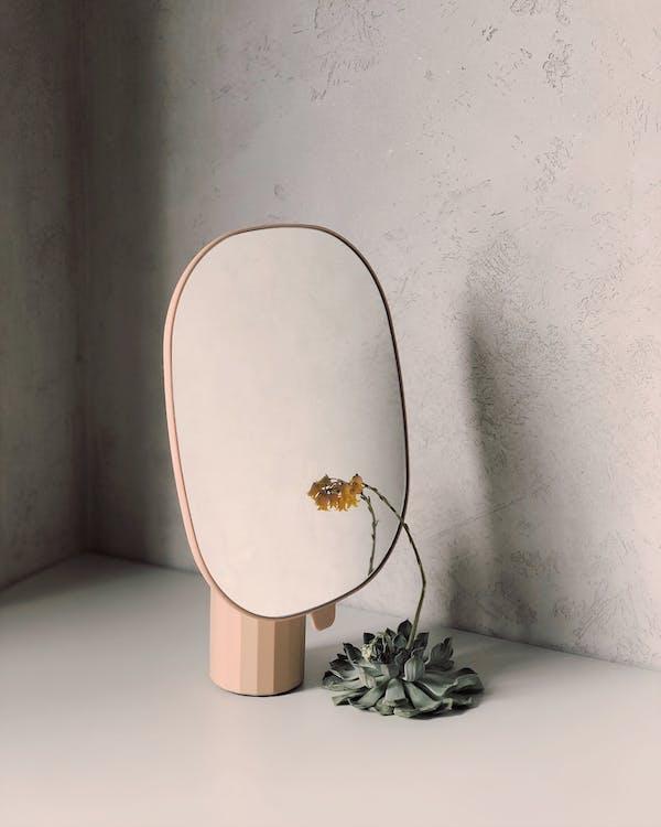 Yellow Petaled Flower Beside Mirror