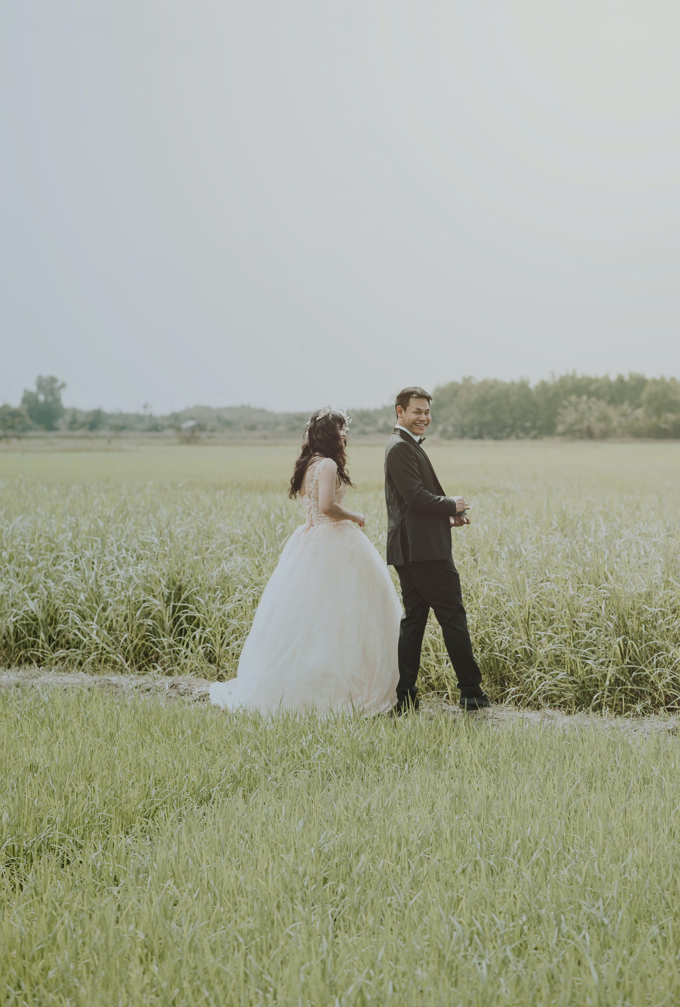 Bride and Groom on Rice Field