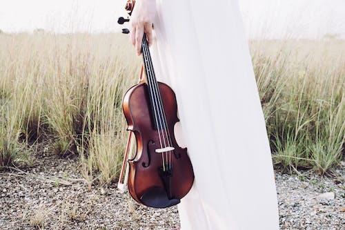 Foto profissional grátis de dia, garota, grama, instrumento