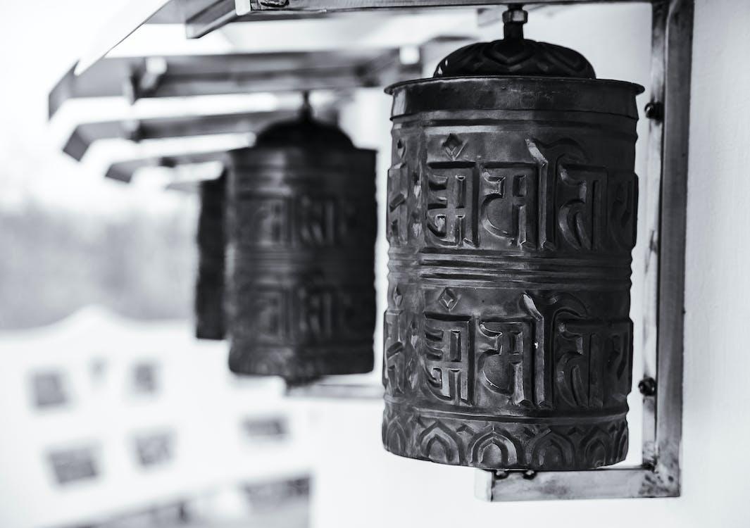 antik, buddhizmus, elmosódott háttér