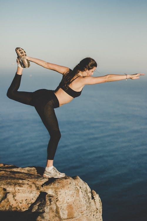 aktívny, cvičenie, dievča