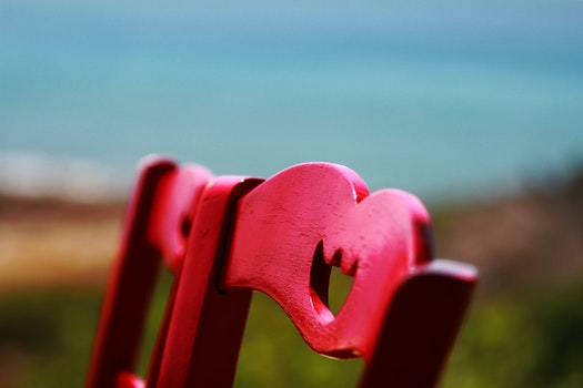 Red Wooden Chair Close Up Photography