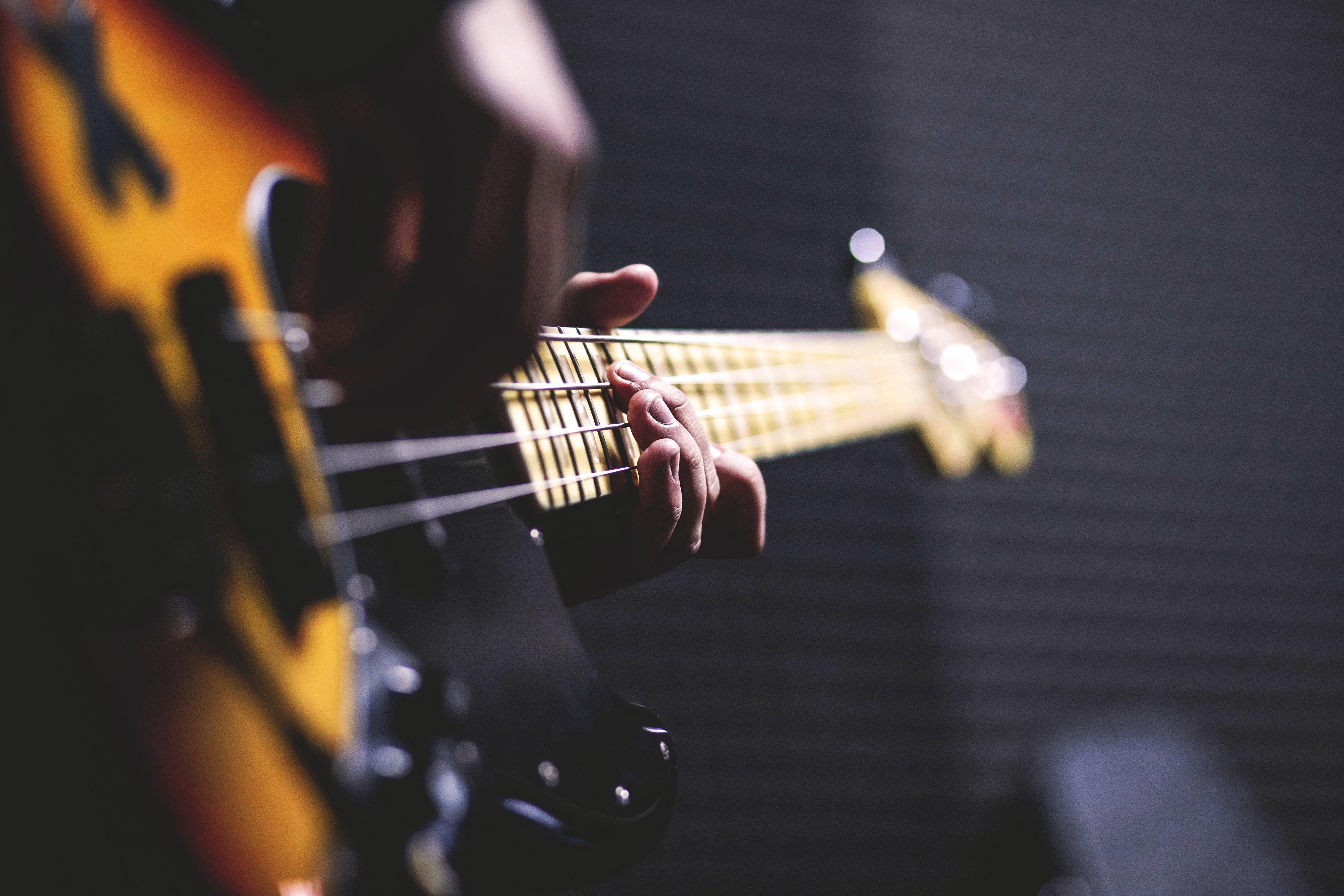 bass guitar, chord, close-up