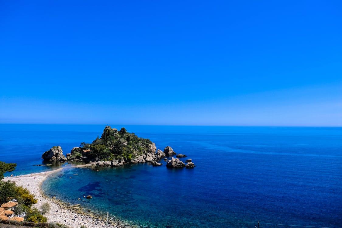 horizont, kameny, modrá