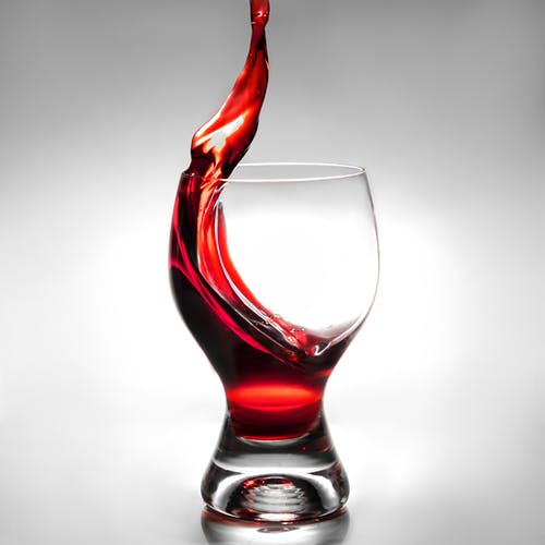 Red Wine in Clear Drinking Glass