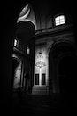 black-and-white, dark, lamp