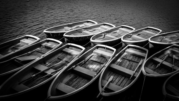 Gray Scale Photography of Wooden Rowboats on Body of Water