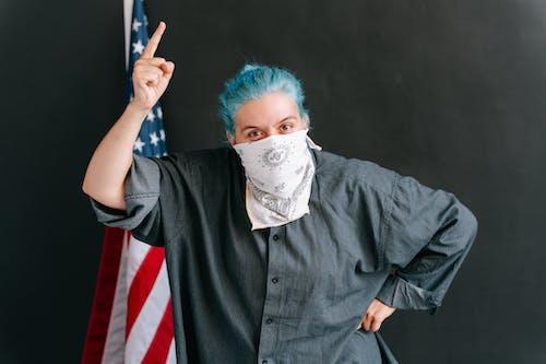 คลังภาพถ่ายฟรี ของ การเคลื่อนไหว, ธงชาติอเมริกา, ปกคลุมใบหน้า