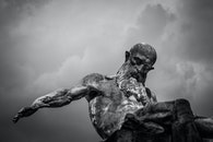 black-and-white, cloudy, statue