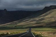 road, cloudy, mountain