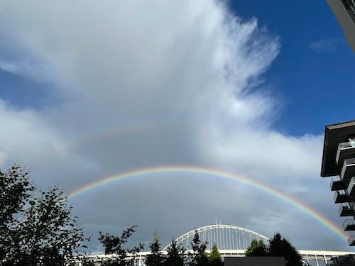 Free stock photo of city, double rainbow, nature