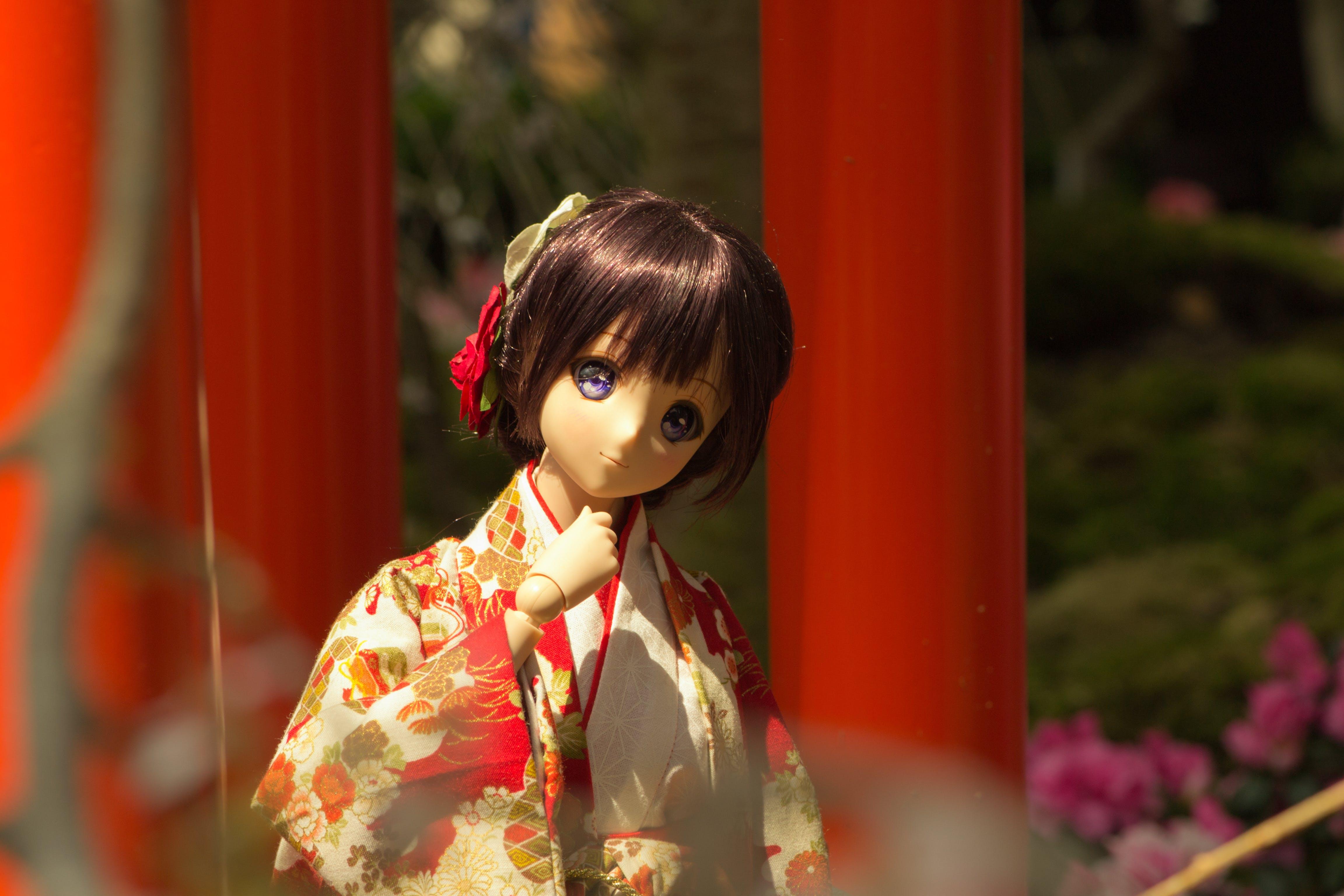 기모노, 벚꽃, 빨간, 인형의 무료 스톡 사진