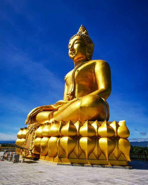 Free stock photo of blue sky, buddhism, gold