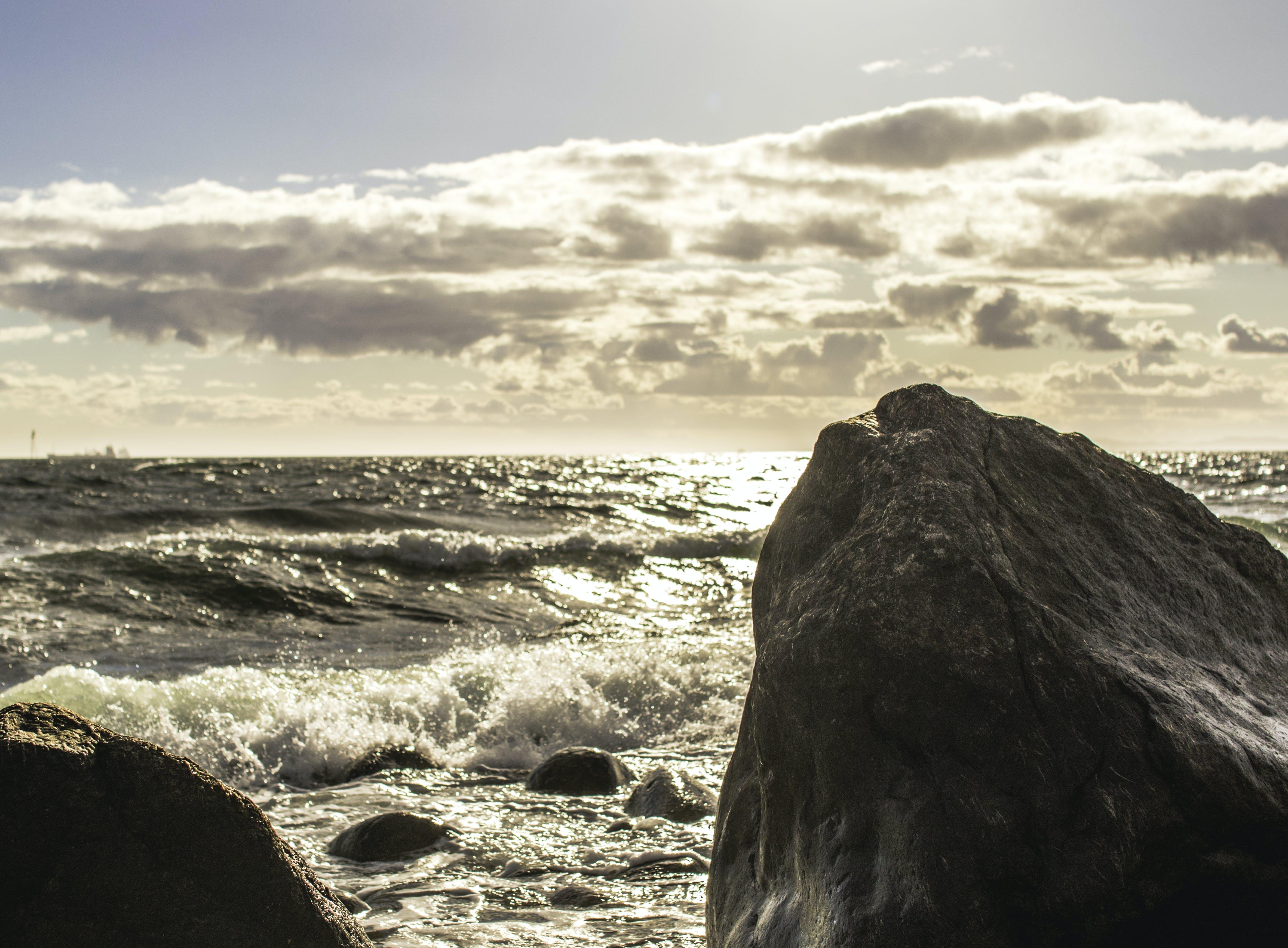 Free stock photo of cloud, ocean, rock, sea
