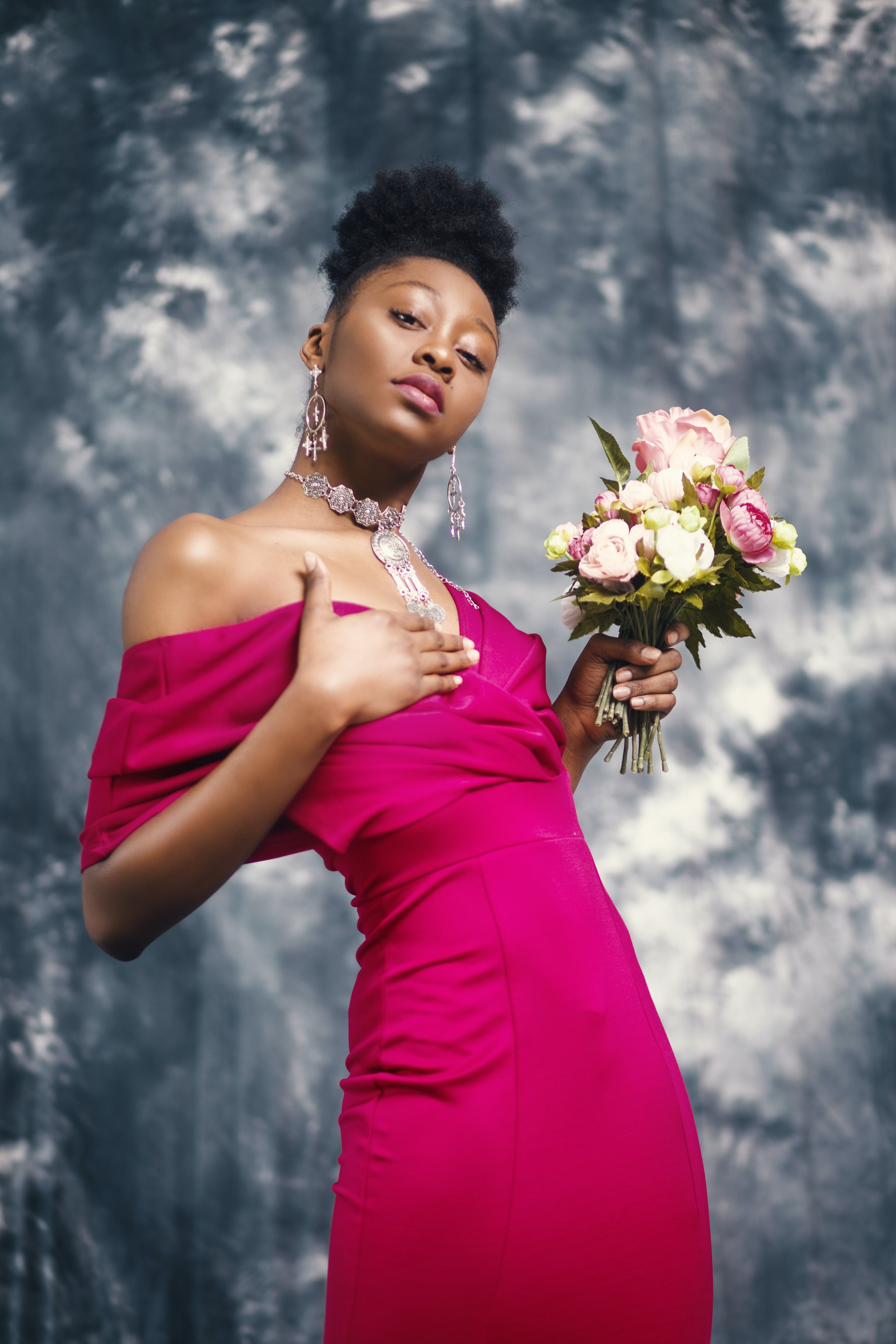 Woman in Pink Off-shoulder Dress Holding Pink and White Flower Bouquet