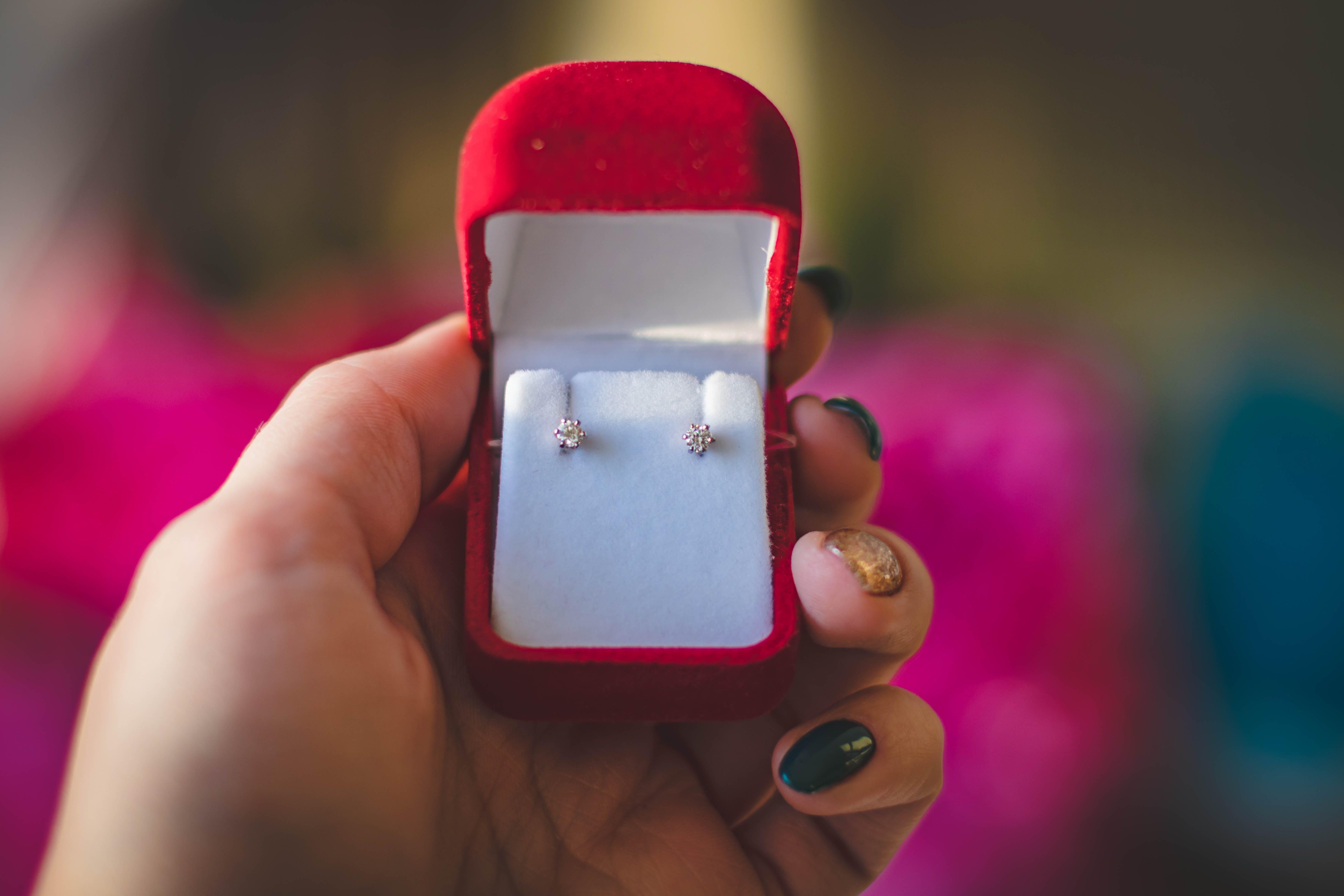Pair of Stud Earrings in Red Box