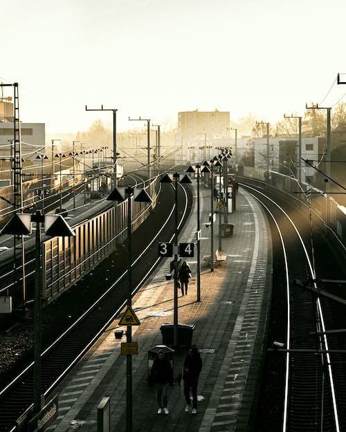 Sunlight over train station