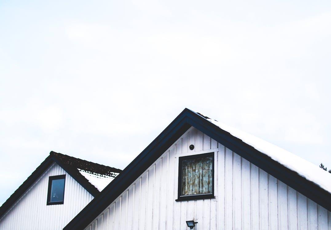 acoperiș, alb, alb-negru