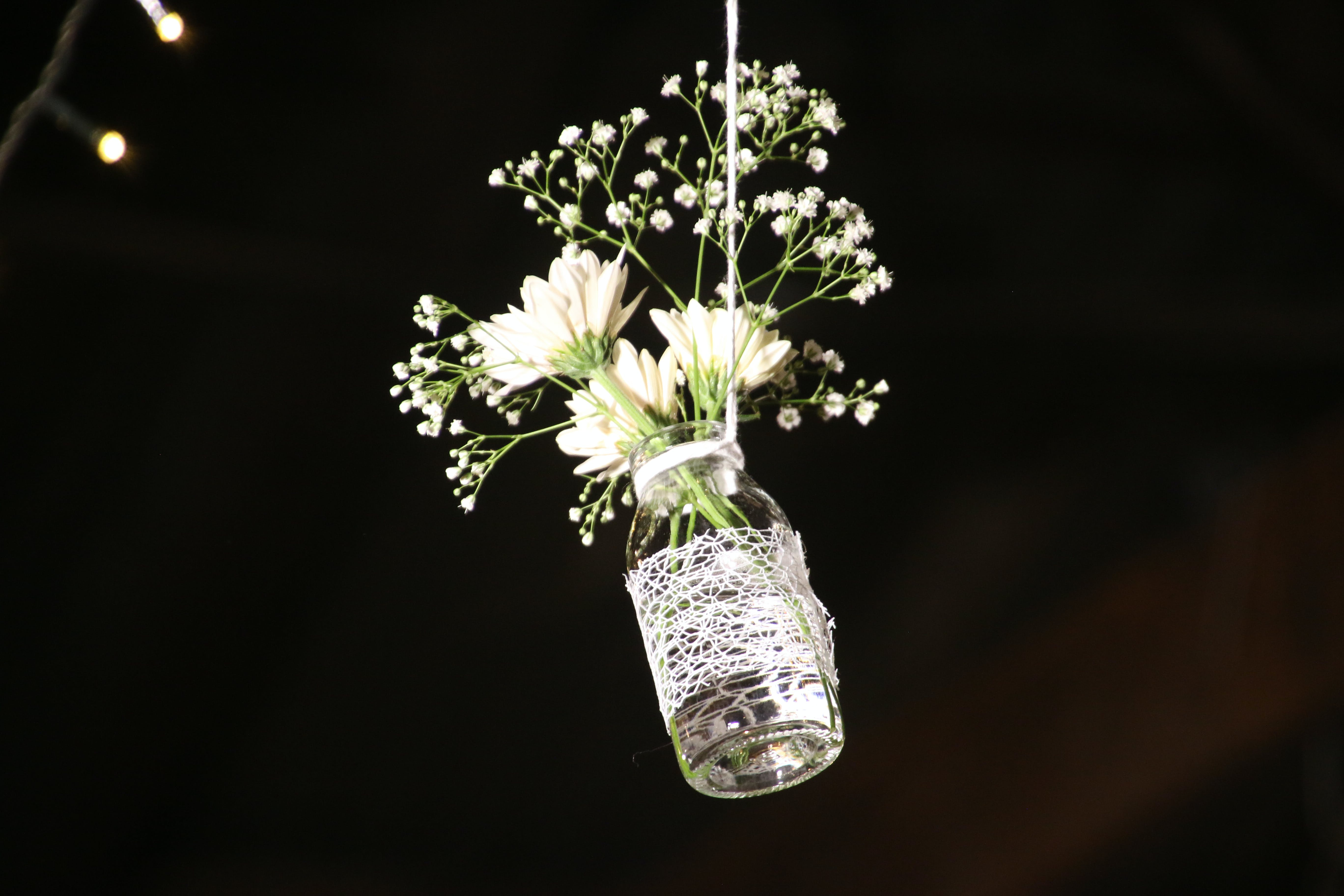 Photo of White Flowesr on Clear Glass Bottle