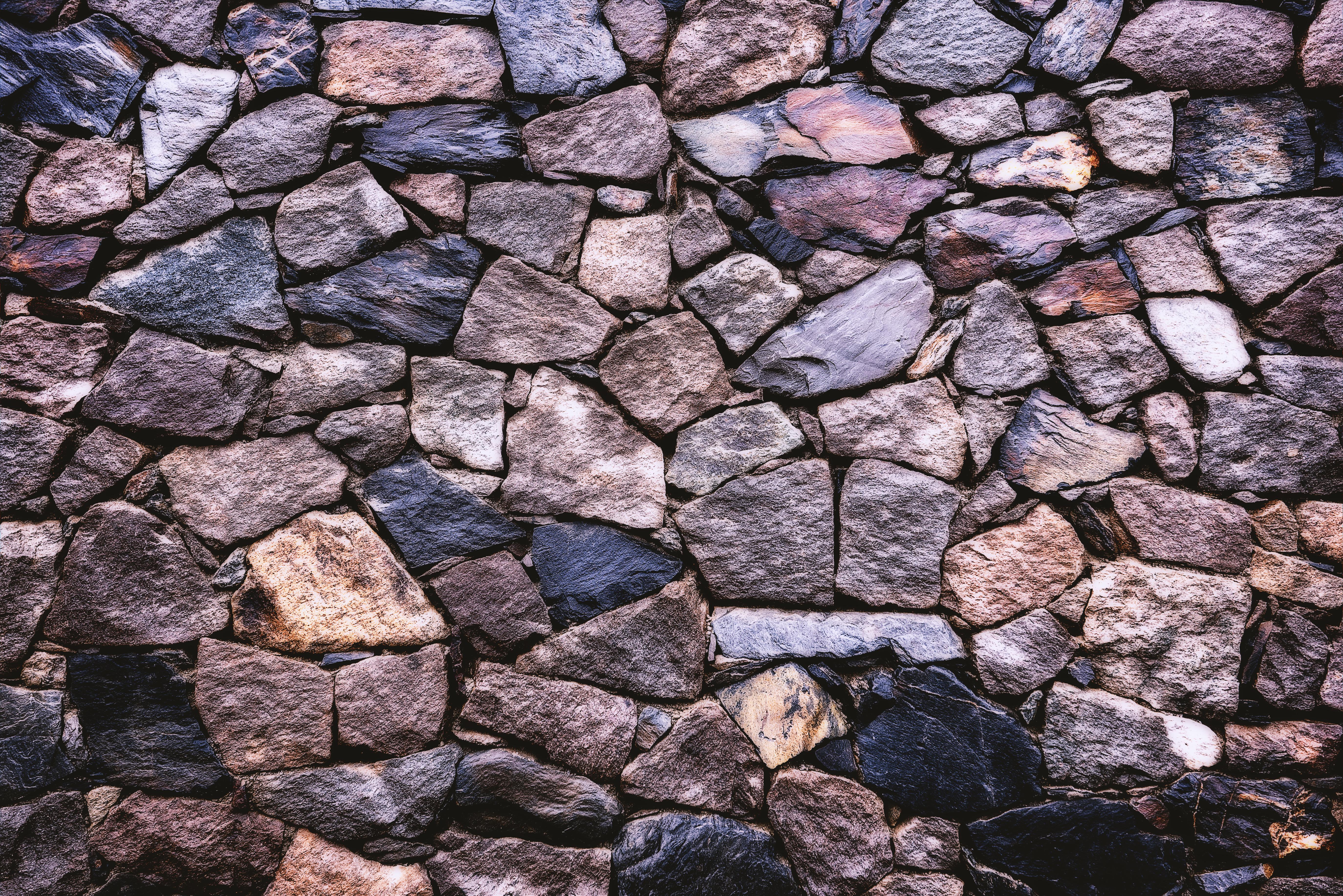 Grey and Brown Brick Wall