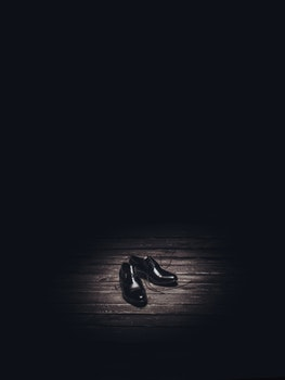 Free stock photo of shoes, black, wooden, floor