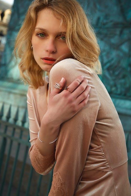 Woman Wearing Satin Long-sleeved Top