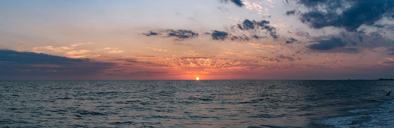 malebný, moře, mraky