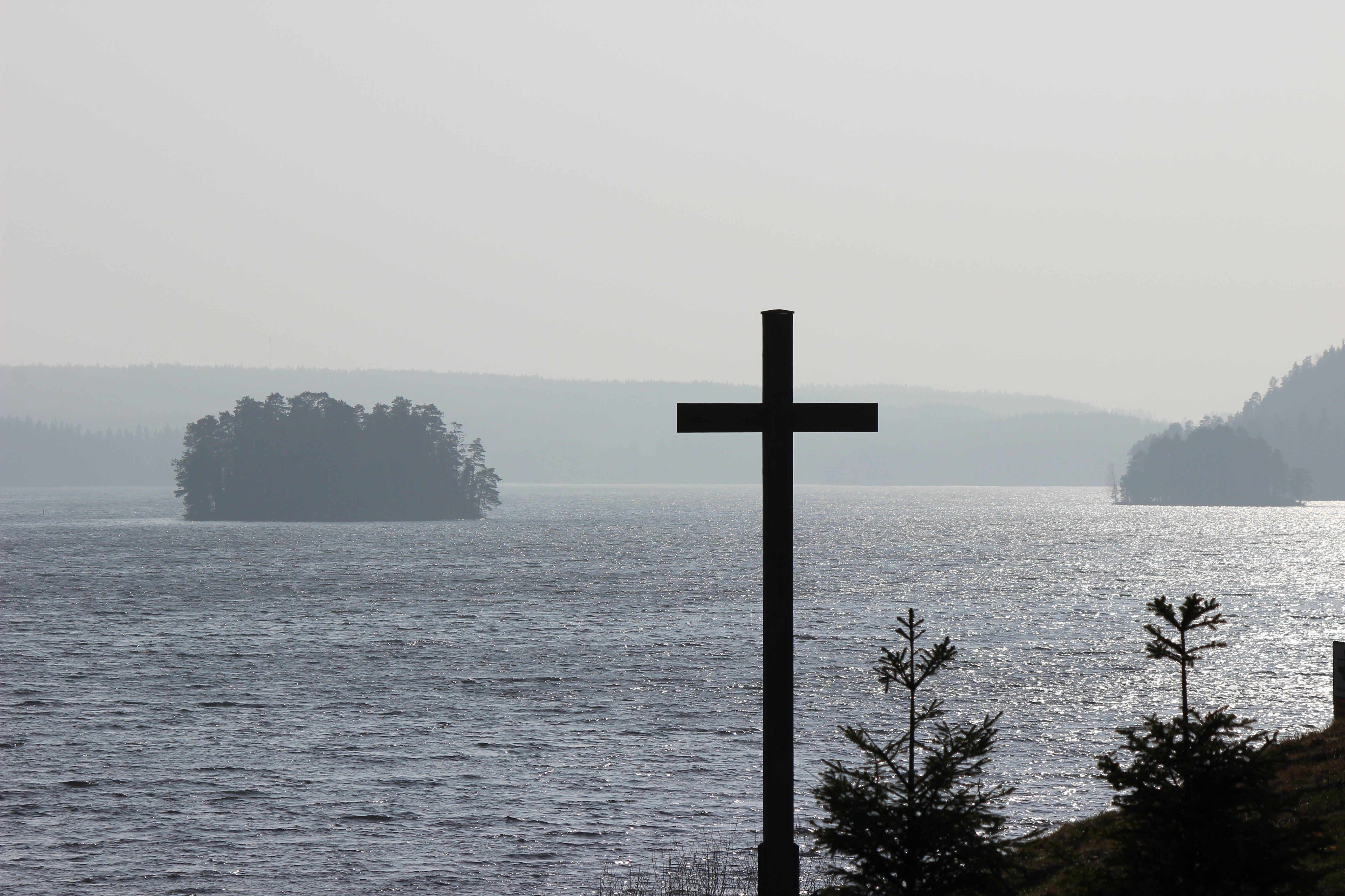 Free stock photo of cross, lake