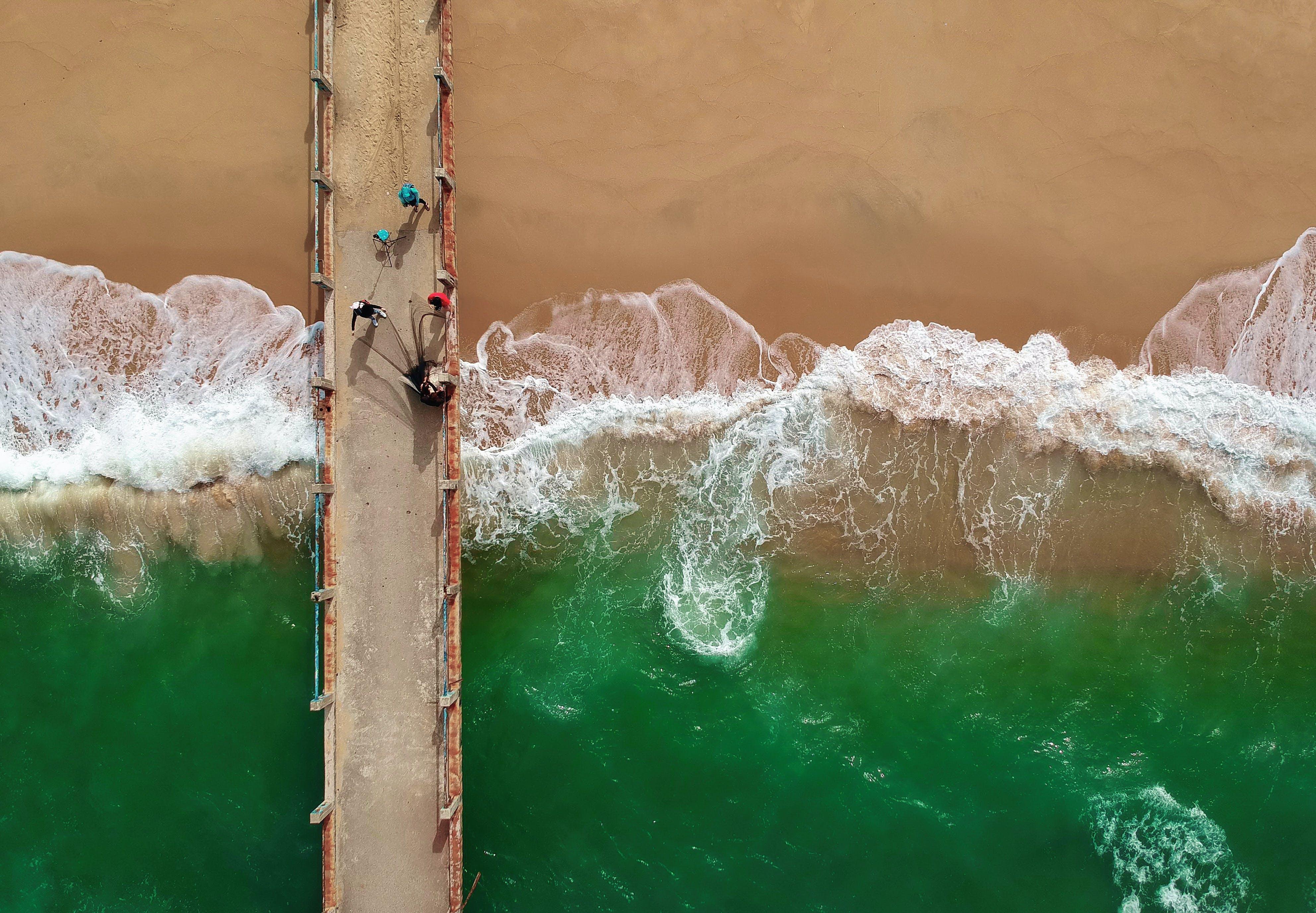 Bird's Eye View of People On Boardwalk