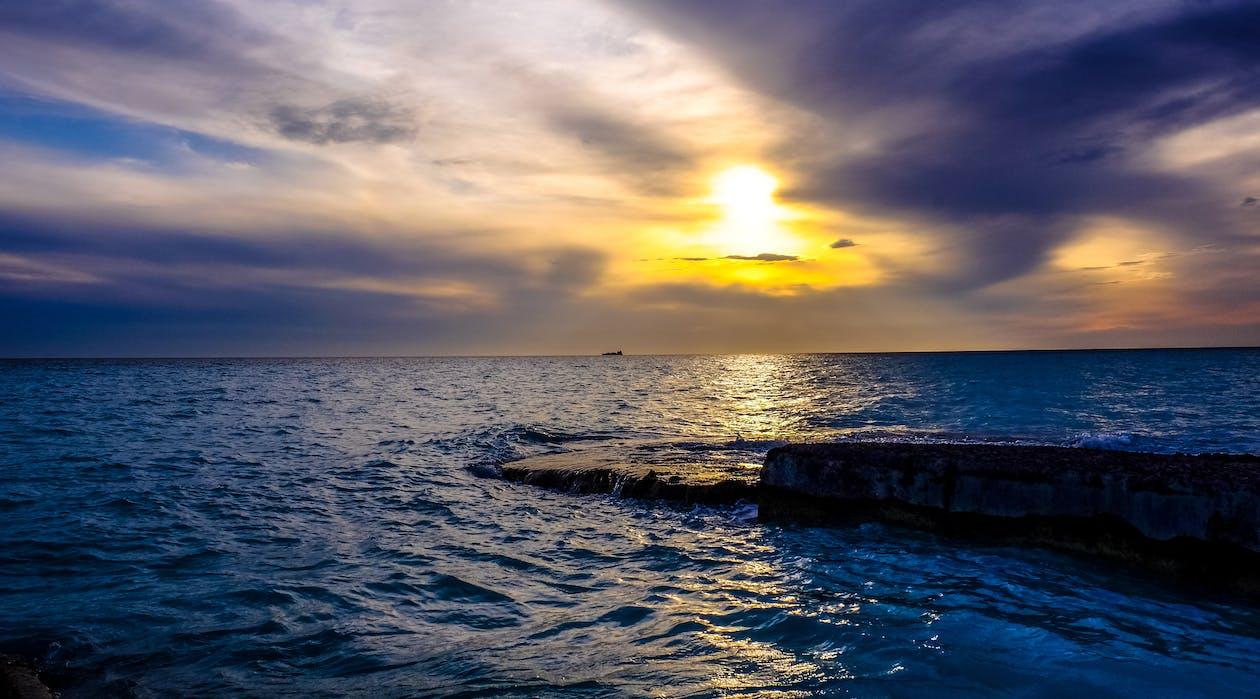 aube, bord de mer, ciel