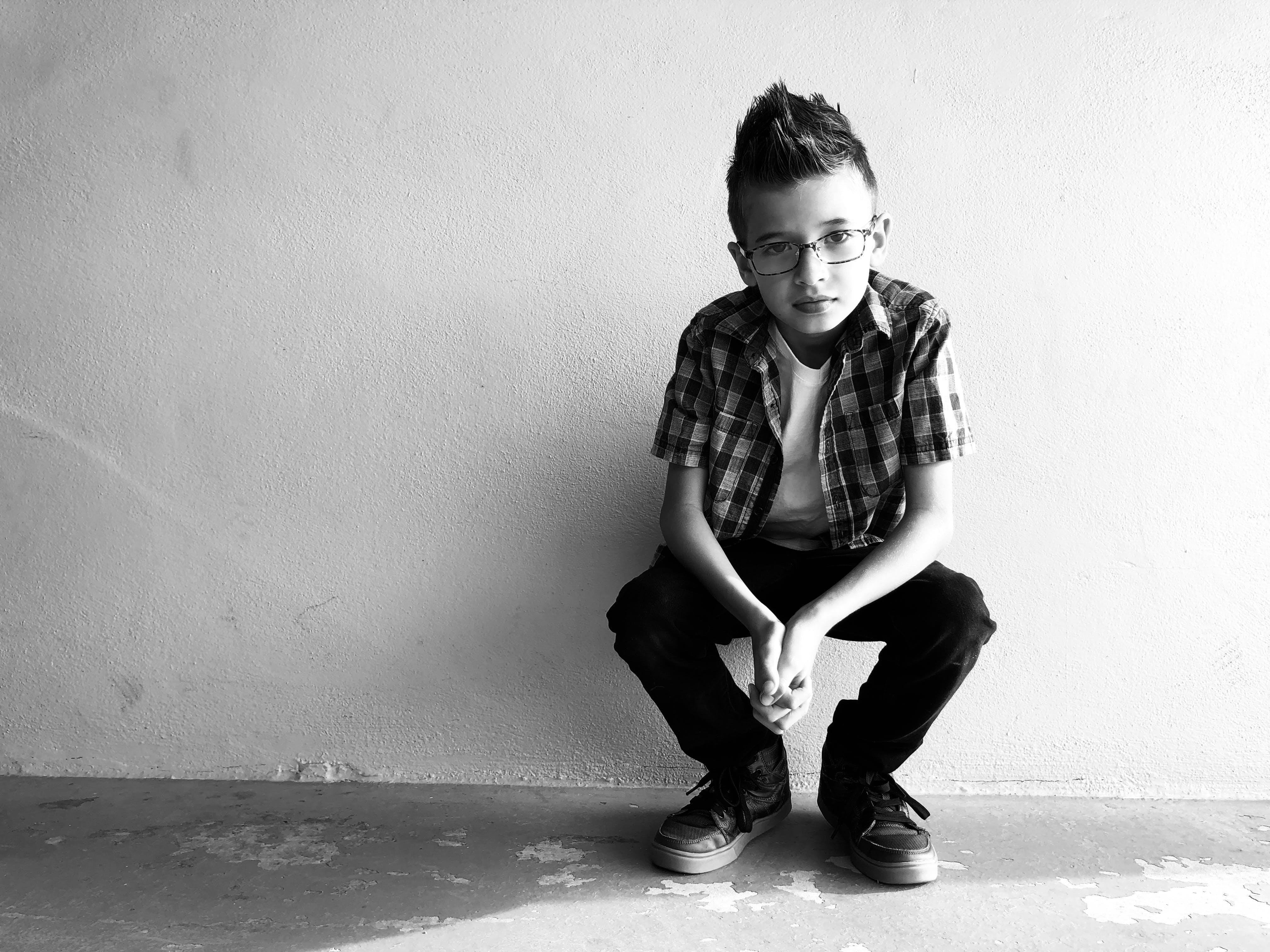 Greyscale Photo Of Boy