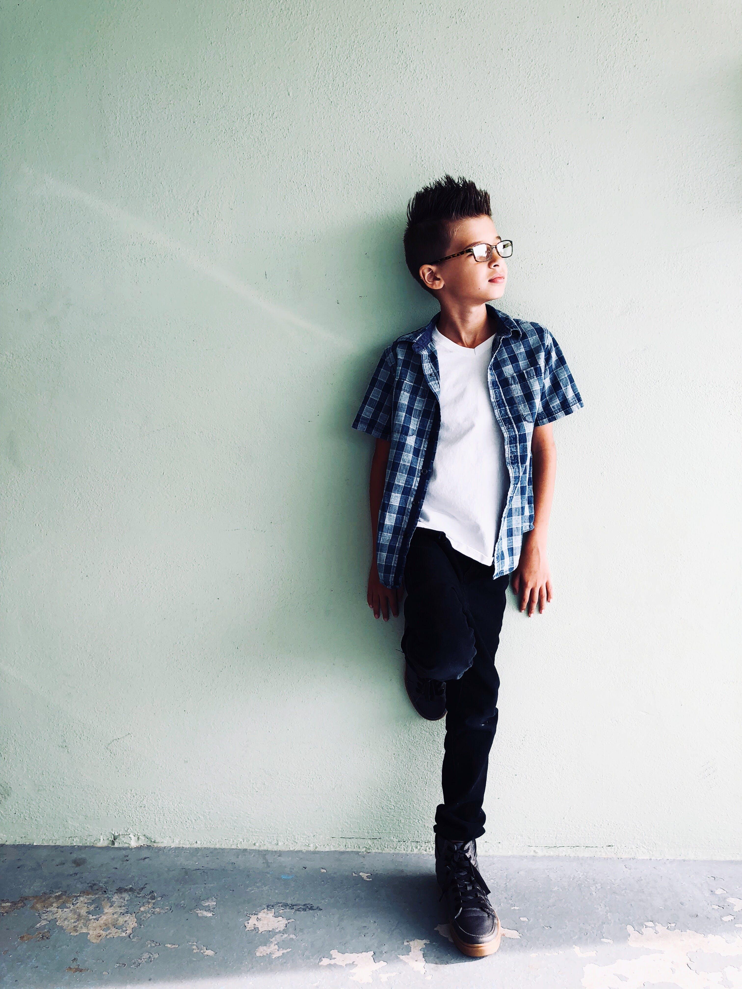 Boy In White V-neck Shirt
