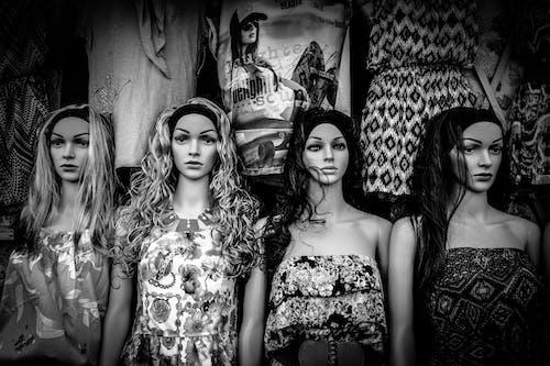 假人模特兒, 衣服, 黑與白 的 免费素材照片