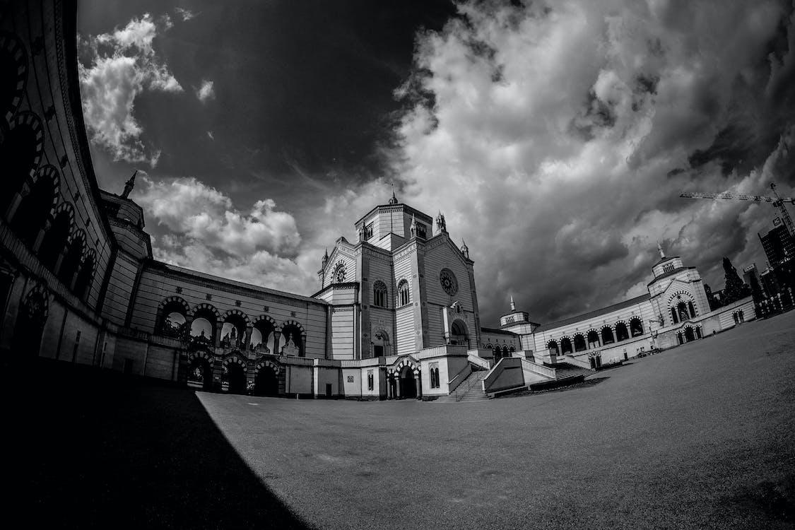 awan, gereja, hitam & putih
