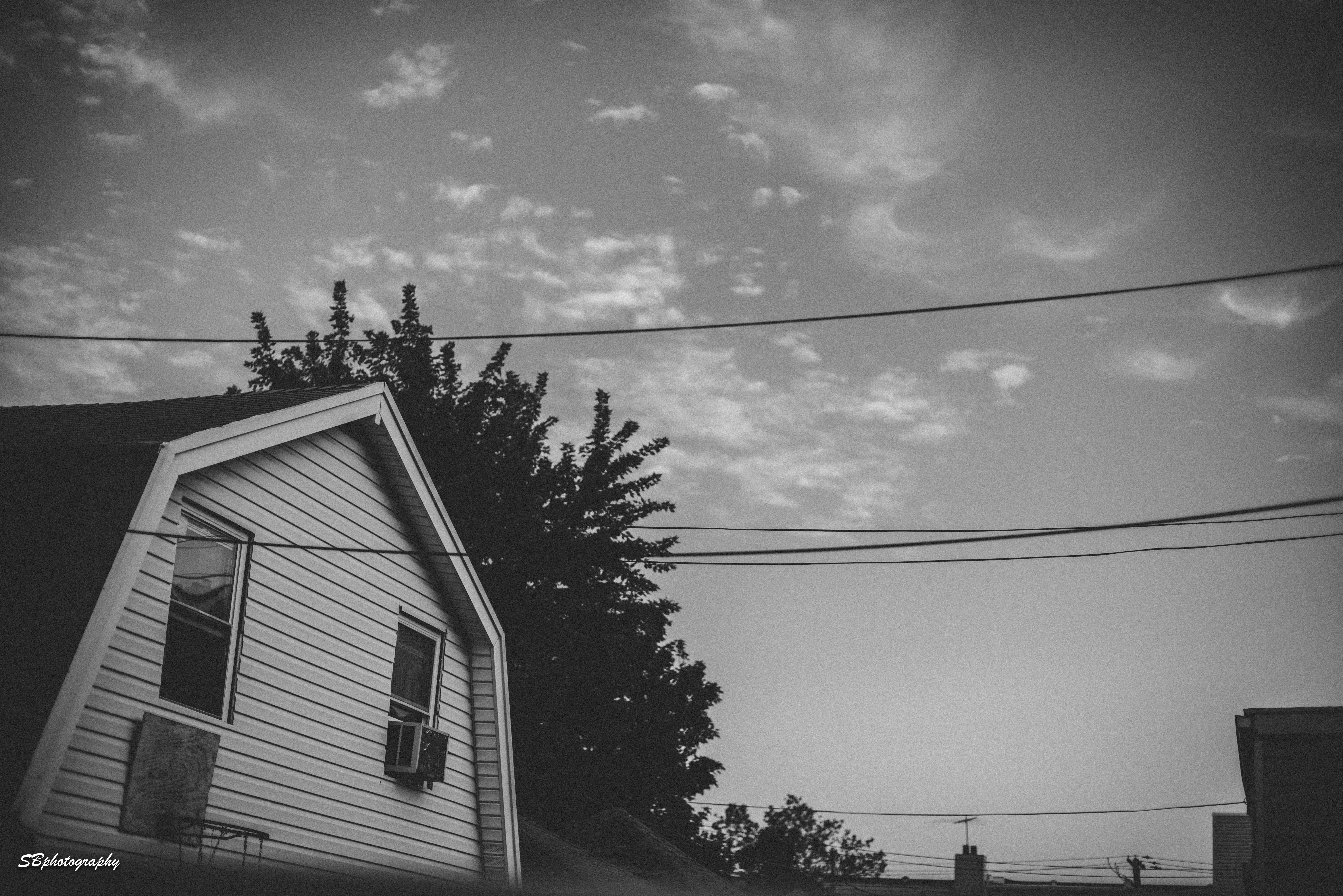 Free stock photo of black and white, house, sky